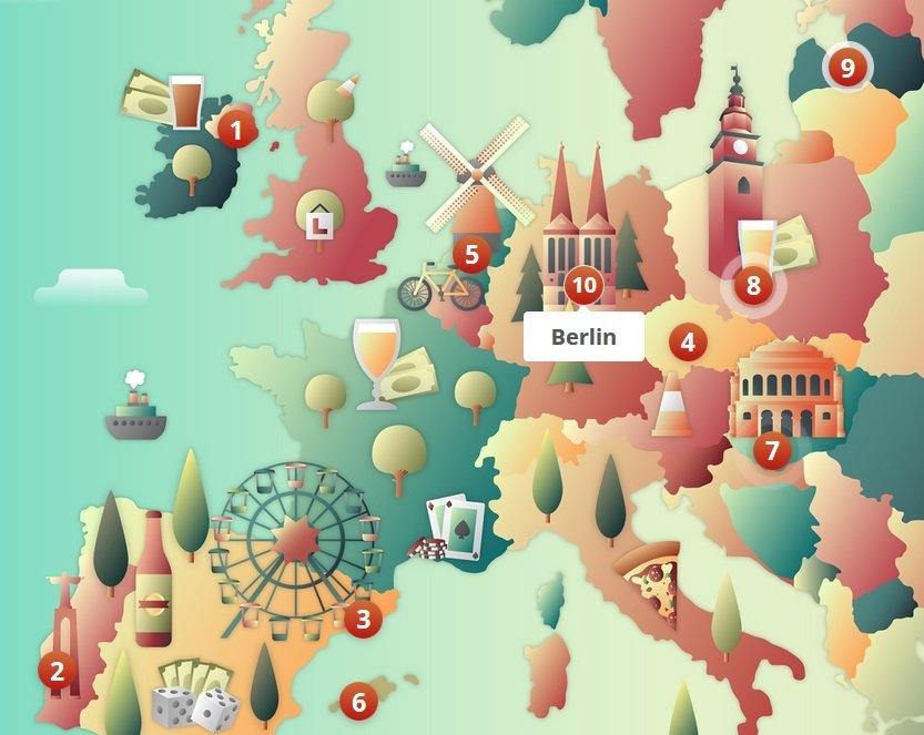 Top 10 Stag Destinations (Interactive)