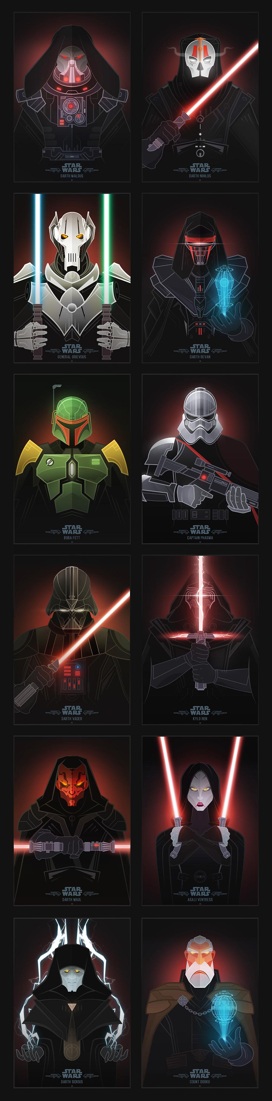 Star Wars Dark Side Illustrations