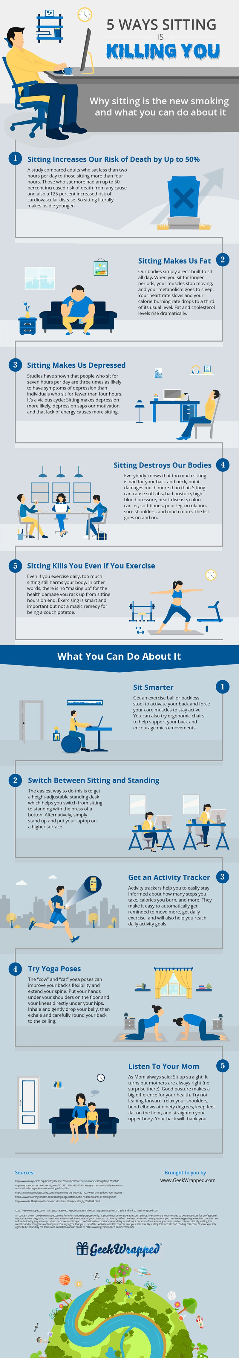 5 Ways Sitting is Killing You by GeekWrapped