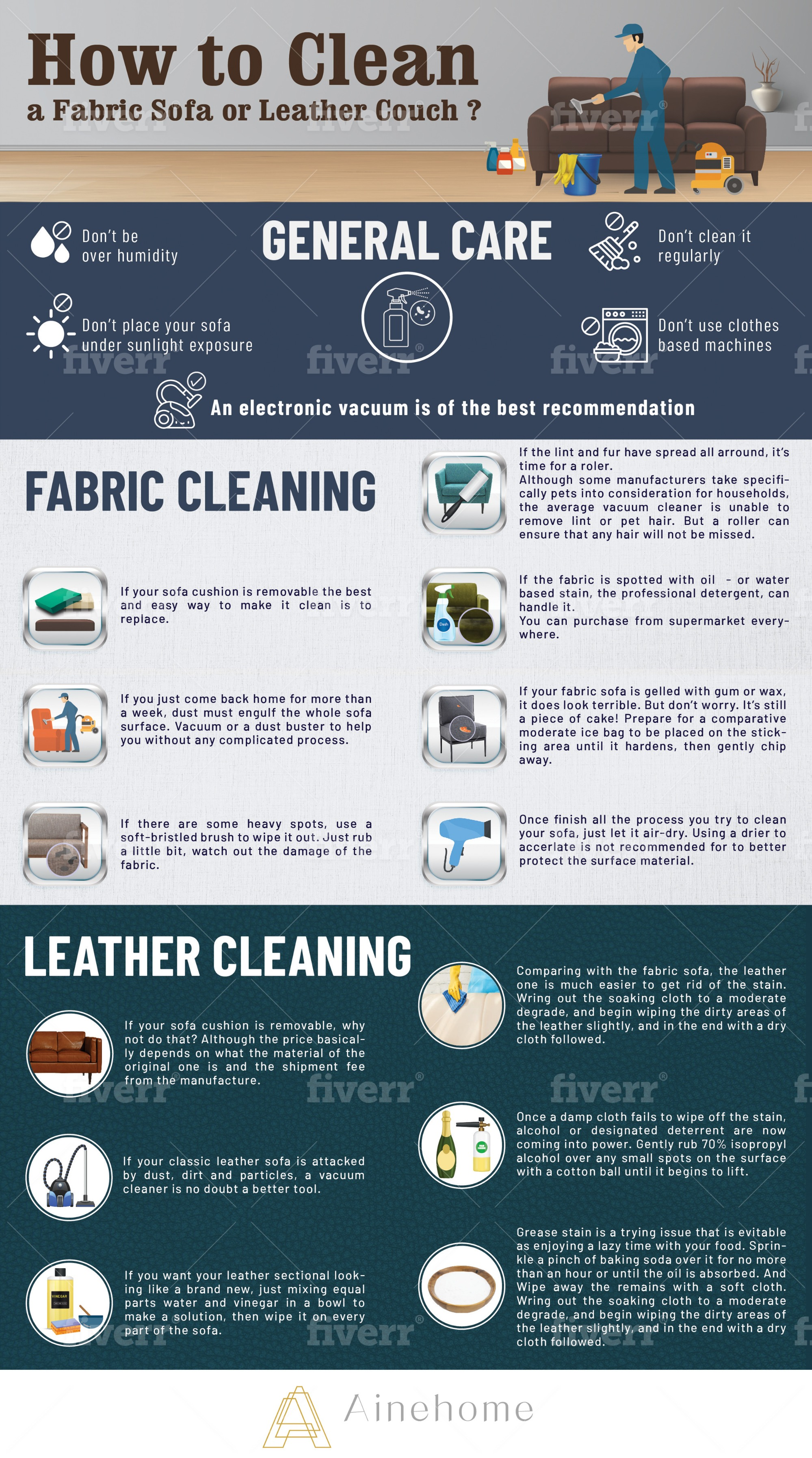 How to Clean a Fabric Sofa or Leather Couch by Ainehome