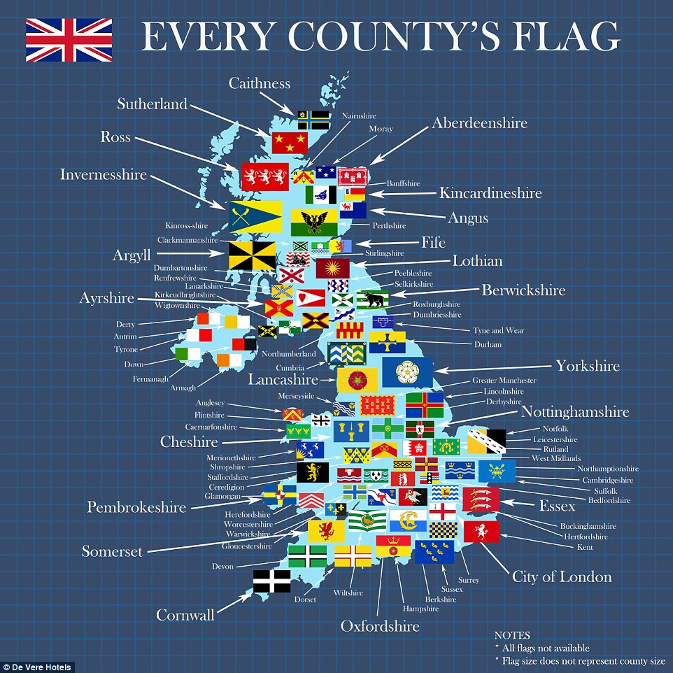 UK County Flags Map by De Vere Hotels